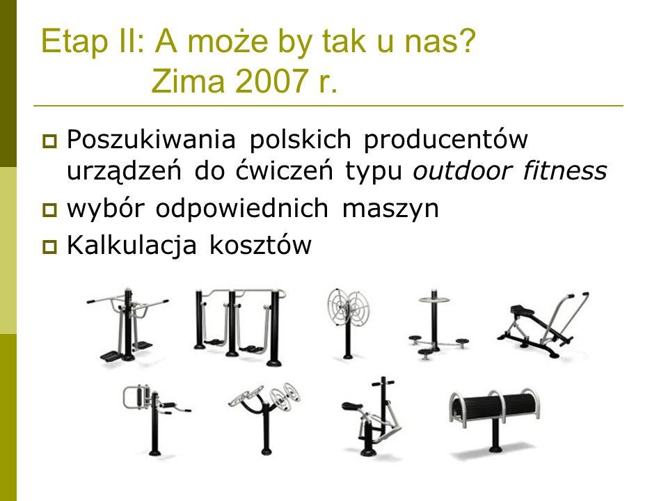 Etap II: A może by tak u nas? Zima 2007 r. Poszukiwania polskich producentów urządzeń do ćwiczeń typu outdoor fitness wybór odpowiednich maszyn Kalkul