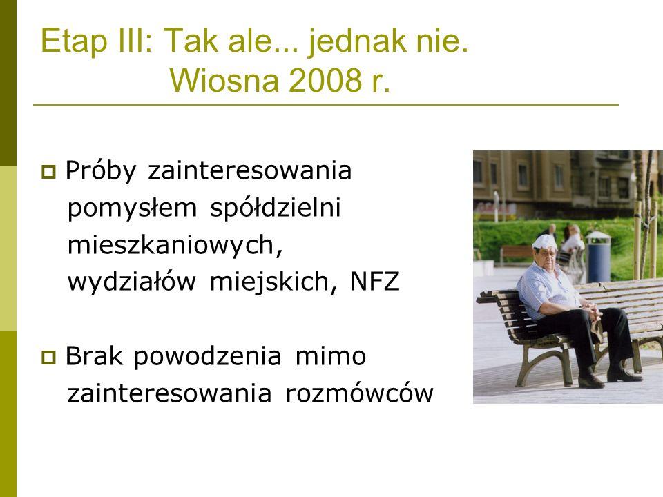 Etap III: Tak ale... jednak nie. Wiosna 2008 r. Próby zainteresowania pomysłem spółdzielni mieszkaniowych, wydziałów miejskich, NFZ Brak powodzenia mi