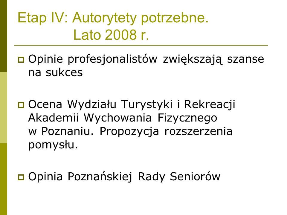 Etap IV: Autorytety potrzebne. Lato 2008 r. Opinie profesjonalistów zwiększają szanse na sukces Ocena Wydziału Turystyki i Rekreacji Akademii Wychowan