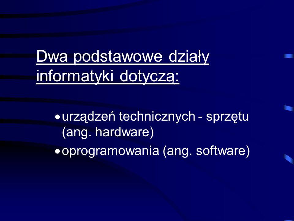 Podstawowe pojęcia i wiadomości z zakresu informatyki. INFORMATYKA – nauka o przetwarzaniu informacji za pomocą automatycznych środków technicznych. P