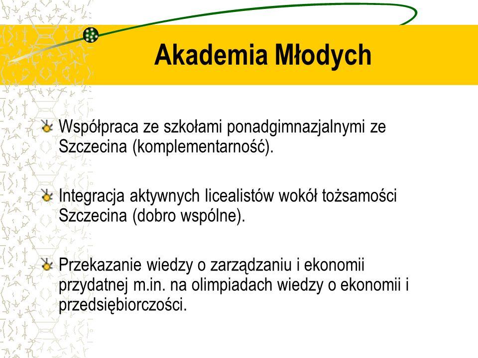 Akademia Młodych Współpraca ze szkołami ponadgimnazjalnymi ze Szczecina (komplementarność). Integracja aktywnych licealistów wokół tożsamości Szczecin