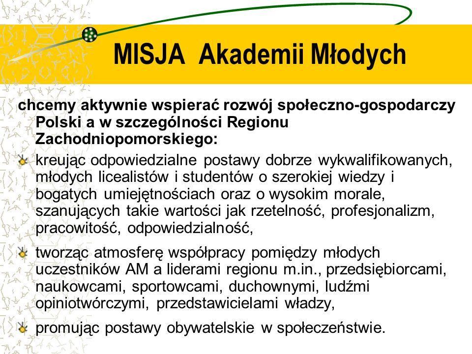 MISJA Akademii Młodych chcemy aktywnie wspierać rozwój społeczno-gospodarczy Polski a w szczególności Regionu Zachodniopomorskiego: kreując odpowiedzi
