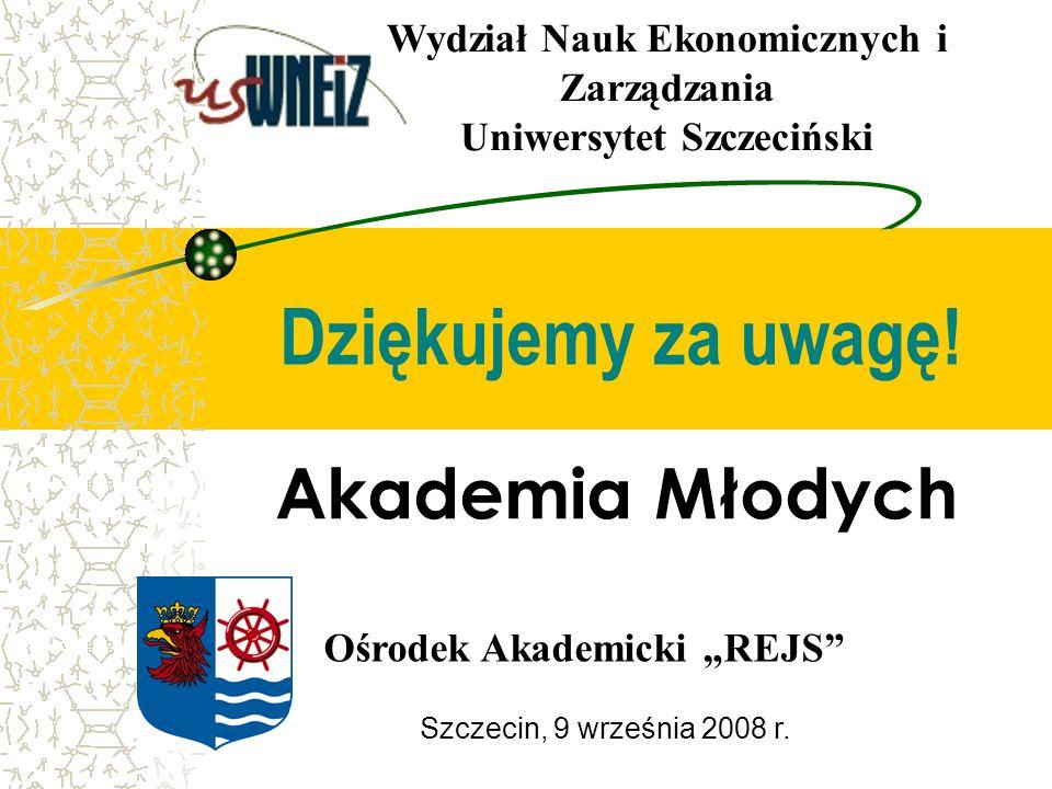 Szczecin, 9 września 2008 r. Dziękujemy za uwagę! Ośrodek Akademicki REJS Wydział Nauk Ekonomicznych i Zarządzania Uniwersytet Szczeciński Akademia Mł