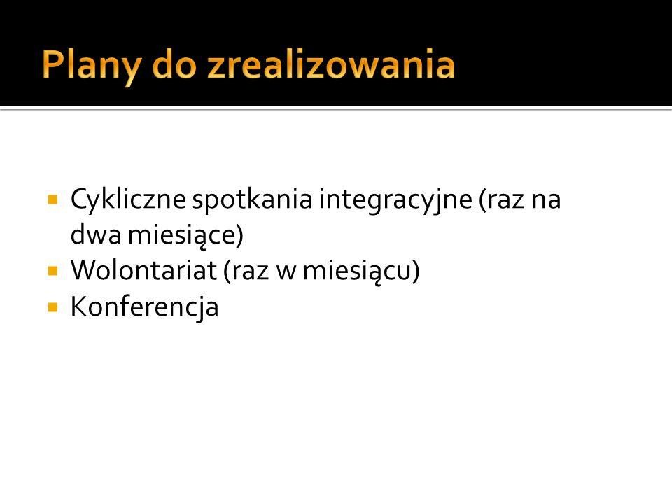 Cykliczne spotkania integracyjne (raz na dwa miesiące) Wolontariat (raz w miesiącu) Konferencja