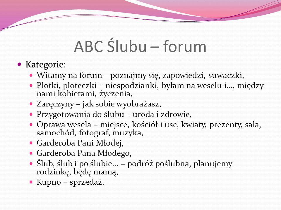 ABC Ślubu – forum Kategorie: Witamy na forum – poznajmy się, zapowiedzi, suwaczki, Plotki, ploteczki – niespodzianki, byłam na weselu i…, między nami