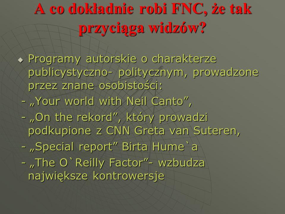 A co dokładnie robi FNC, że tak przyciąga widzów? Programy autorskie o charakterze publicystyczno- politycznym, prowadzone przez znane osobistości: Pr