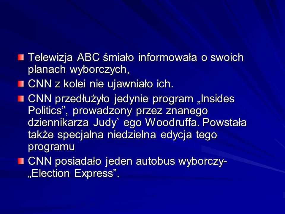 Telewizja ABC śmiało informowała o swoich planach wyborczych, CNN z kolei nie ujawniało ich. CNN przedłużyło jedynie program Insides Politics, prowadz