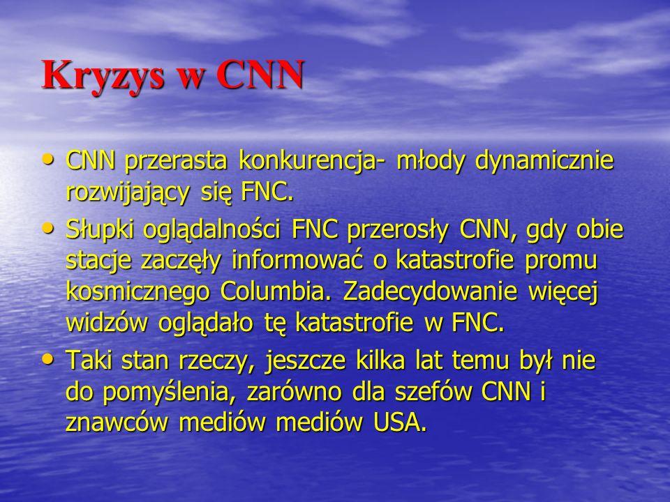 Kryzys w CNN CNN przerasta konkurencja- młody dynamicznie rozwijający się FNC. CNN przerasta konkurencja- młody dynamicznie rozwijający się FNC. Słupk