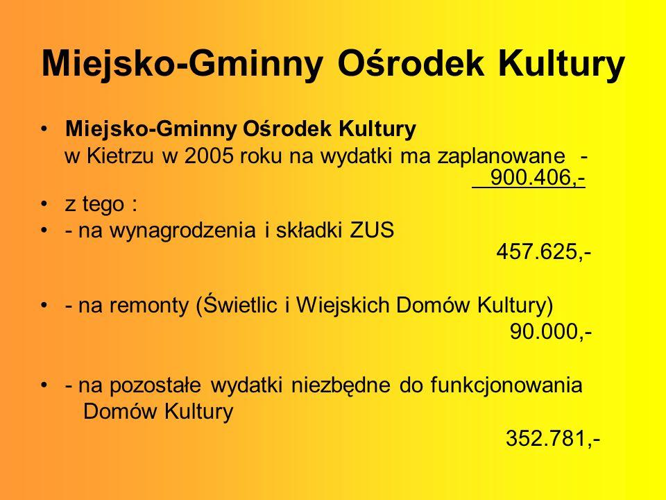 Miejsko-Gminny Ośrodek Kultury Miejsko-Gminny Ośrodek Kultury w Kietrzu w 2005 roku na wydatki ma zaplanowane - 900.406,- z tego : - na wynagrodzenia i składki ZUS 457.625,- - na remonty (Świetlic i Wiejskich Domów Kultury) 90.000,- - na pozostałe wydatki niezbędne do funkcjonowania Domów Kultury 352.781,-