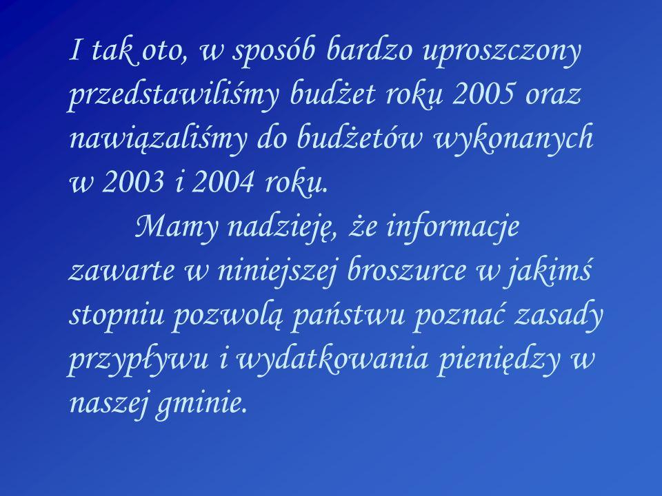 I tak oto, w sposób bardzo uproszczony przedstawiliśmy budżet roku 2005 oraz nawiązaliśmy do budżetów wykonanych w 2003 i 2004 roku. Mamy nadzieję, że