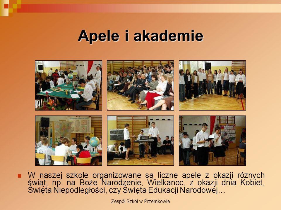 Zespół Szkół w Przemkowie Apele i akademie W naszej szkole organizowane są liczne apele z okazji różnych świąt, np. na Boże Narodzenie, Wielkanoc, z o