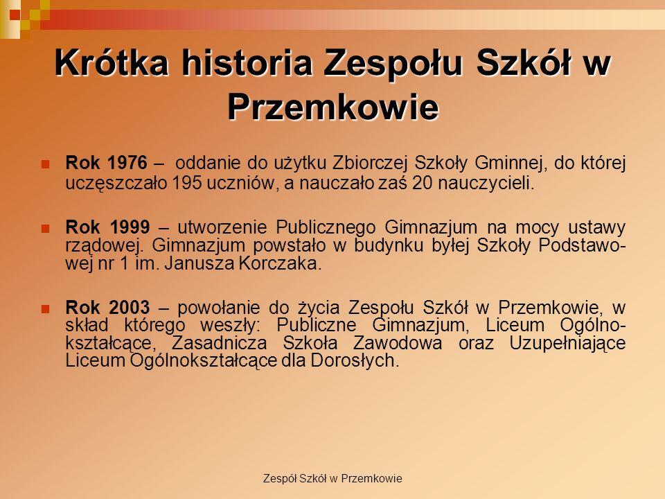 Zespół Szkół w Przemkowie Krótka historia Zespołu Szkół w Przemkowie Rok 1976 – oddanie do użytku Zbiorczej Szkoły Gminnej, do której uczęszczało 195
