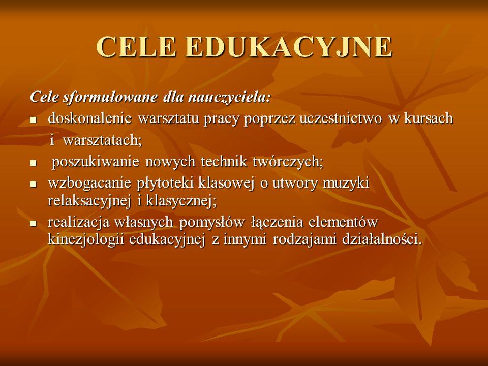 CELE EDUKACYJNE Cele sformułowane dla nauczyciela: doskonalenie warsztatu pracy poprzez uczestnictwo w kursach doskonalenie warsztatu pracy poprzez uc