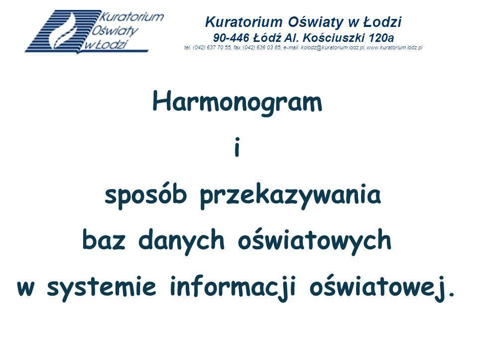 Harmonogram i sposób przekazywania baz danych oświatowych w systemie informacji oświatowej. Kuratorium Oświaty w Łodzi 90-446 Łódź Al. Kościuszki 120a