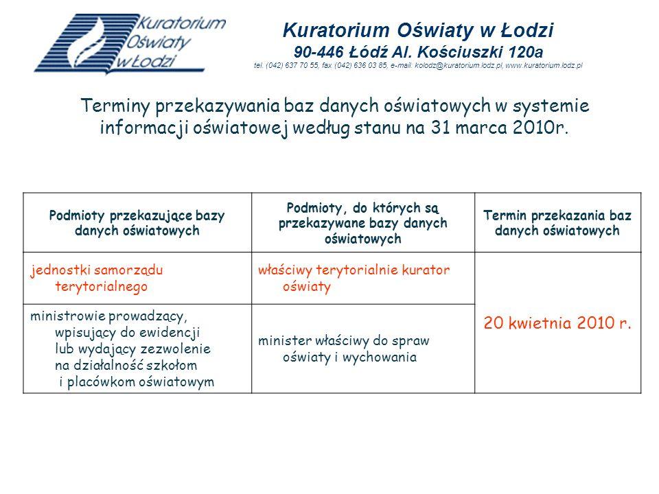 jednostki samorządu terytorialnego właściwy terytorialnie kurator oświaty 20 kwietnia 2010 r. ministrowie prowadzący, wpisujący do ewidencji lub wydaj