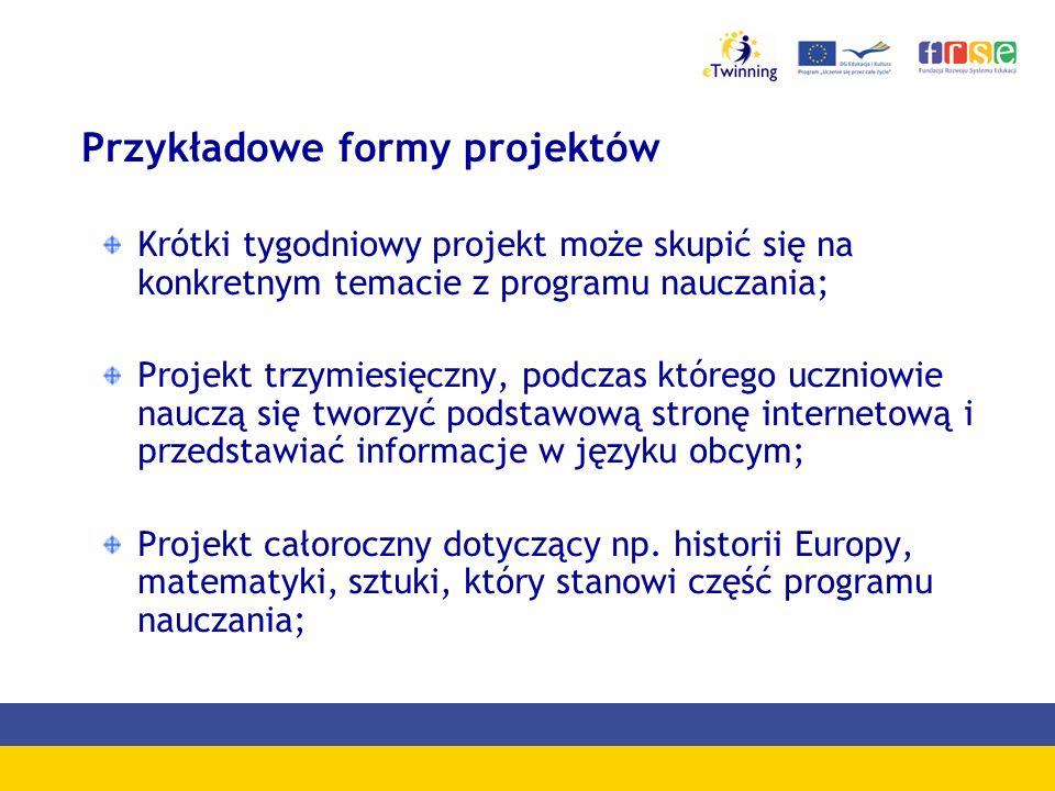 Przykładowe formy projektów Krótki tygodniowy projekt może skupić się na konkretnym temacie z programu nauczania; Projekt trzymiesięczny, podczas któr