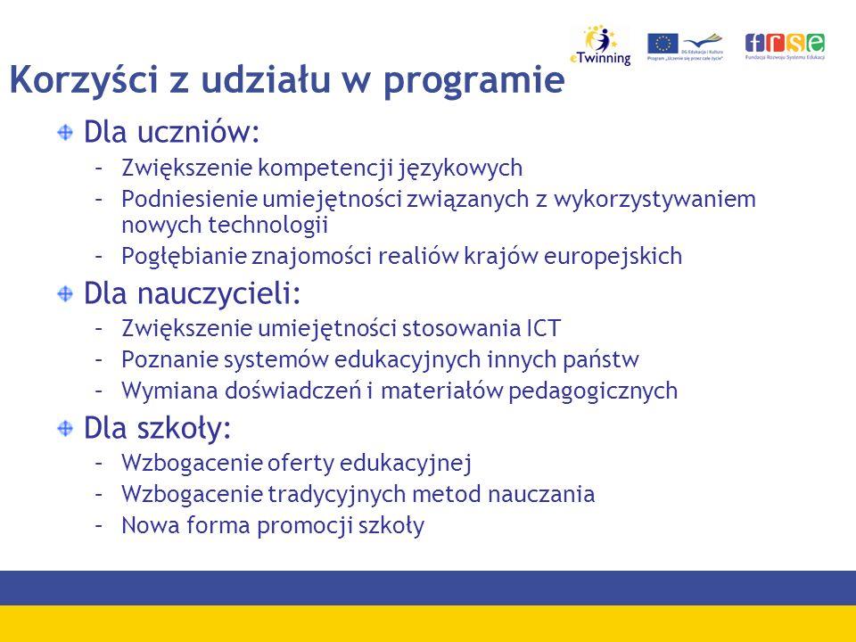 Korzyści z udziału w programie Dla uczniów: –Zwiększenie kompetencji językowych –Podniesienie umiejętności związanych z wykorzystywaniem nowych techno