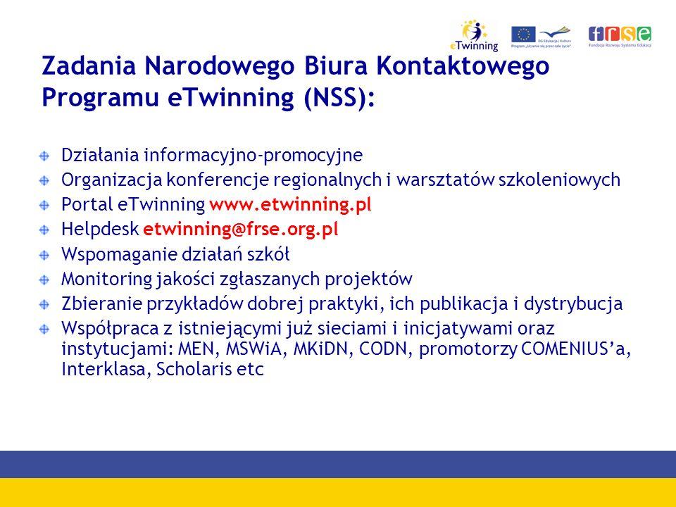 Zadania Narodowego Biura Kontaktowego Programu eTwinning (NSS): Działania informacyjno-promocyjne Organizacja konferencje regionalnych i warsztatów sz