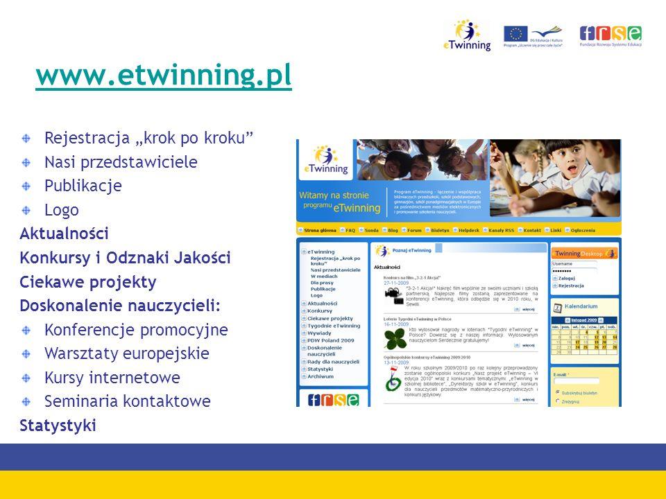 www.etwinning.pl Rejestracja krok po kroku Nasi przedstawiciele Publikacje Logo Aktualności Konkursy i Odznaki Jakości Ciekawe projekty Doskonalenie n