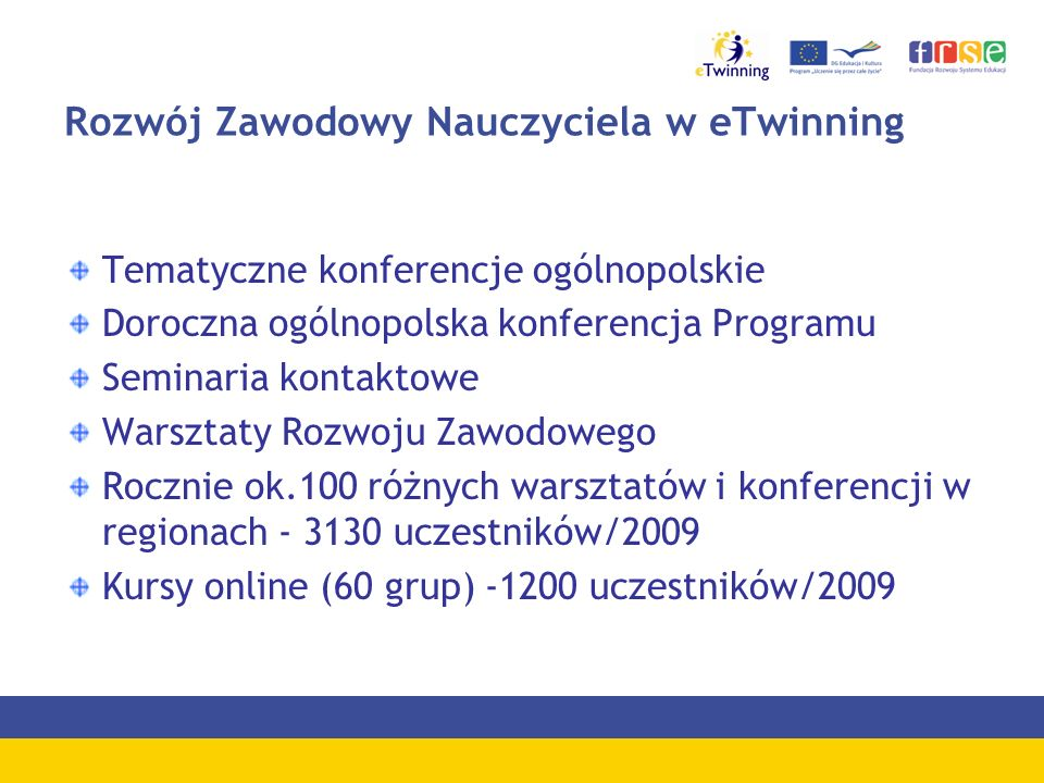 Rozwój Zawodowy Nauczyciela w eTwinning Tematyczne konferencje ogólnopolskie Doroczna ogólnopolska konferencja Programu Seminaria kontaktowe Warsztaty