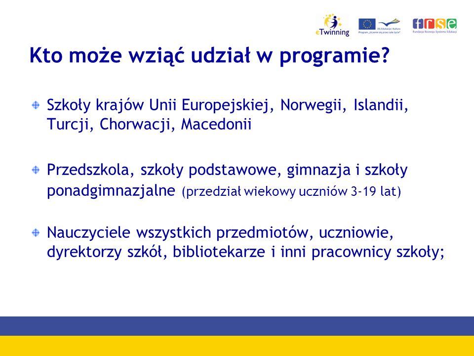 Kto może wziąć udział w programie? Szkoły krajów Unii Europejskiej, Norwegii, Islandii, Turcji, Chorwacji, Macedonii Przedszkola, szkoły podstawowe, g