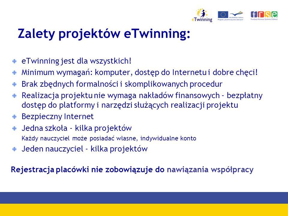 Rejestracja w programie Aby mieć możliwość współpracy z europejskimi szkołami w ramach programu eTwinning należy się zarejestrować na portalu www.etwinning.net lub skorzystać z odnośnika ze strony www.etwinning.pl.www.etwinning.pl
