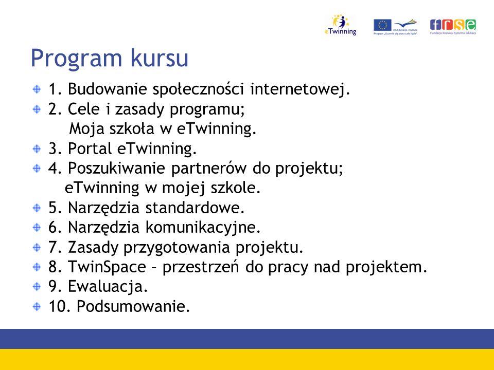 Program kursu 1. Budowanie społeczności internetowej. 2. Cele i zasady programu; Moja szkoła w eTwinning. 3. Portal eTwinning. 4. Poszukiwanie partner