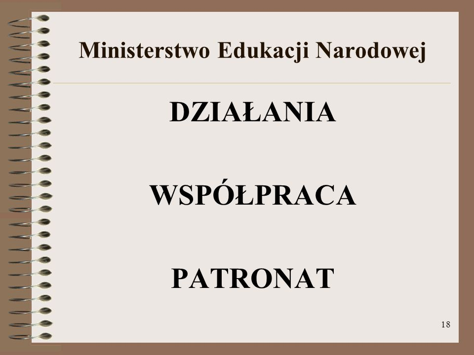 18 Ministerstwo Edukacji Narodowej DZIAŁANIA WSPÓŁPRACA PATRONAT