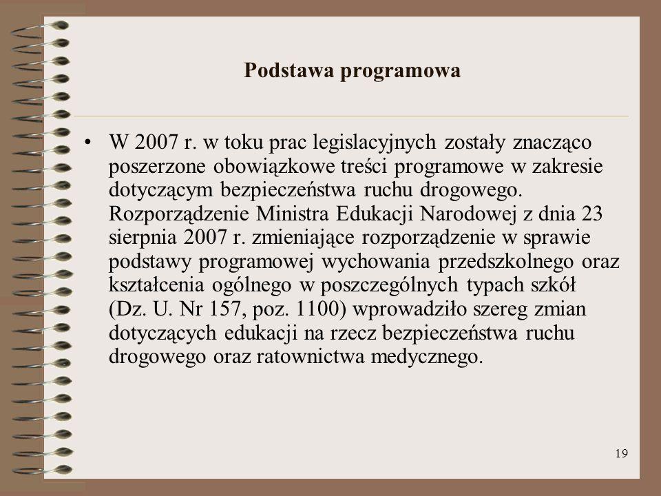 19 Podstawa programowa W 2007 r. w toku prac legislacyjnych zostały znacząco poszerzone obowiązkowe treści programowe w zakresie dotyczącym bezpieczeń