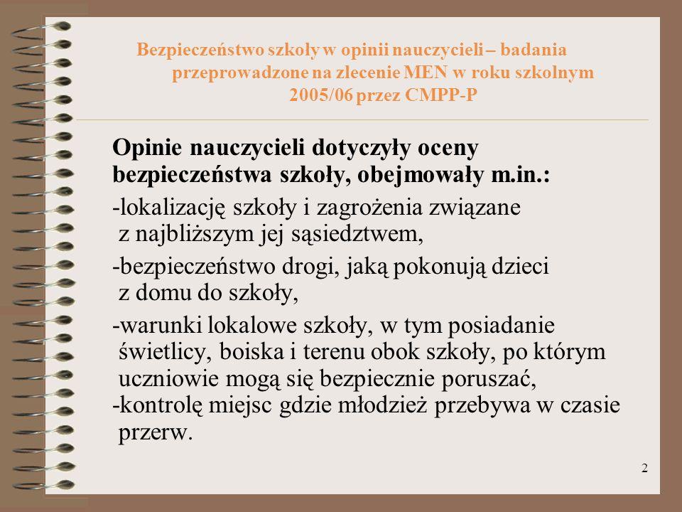 2 Bezpieczeństwo szkoły w opinii nauczycieli – badania przeprowadzone na zlecenie MEN w roku szkolnym 2005/06 przez CMPP-P Opinie nauczycieli dotyczył