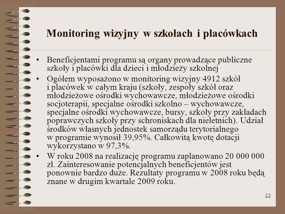 22 Monitoring wizyjny w szkołach i placówkach Beneficjentami programu są organy prowadzące publiczne szkoły i placówki dla dzieci i młodzieży szkolnej