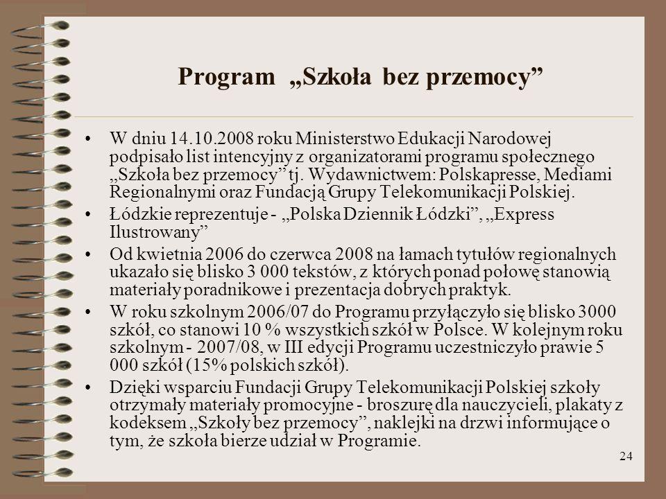 24 Program Szkoła bez przemocy W dniu 14.10.2008 roku Ministerstwo Edukacji Narodowej podpisało list intencyjny z organizatorami programu społecznego