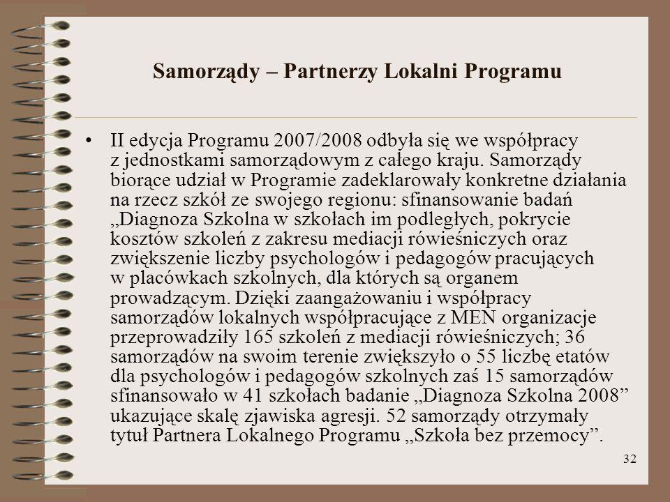 32 Samorządy – Partnerzy Lokalni Programu II edycja Programu 2007/2008 odbyła się we współpracy z jednostkami samorządowym z całego kraju. Samorządy b