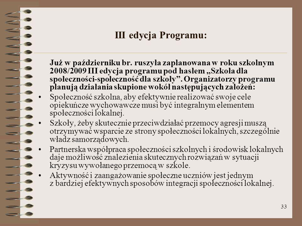 33 III edycja Programu: Już w październiku br. ruszyła zaplanowana w roku szkolnym 2008/2009 III edycja programu pod hasłem Szkoła dla społeczności-sp