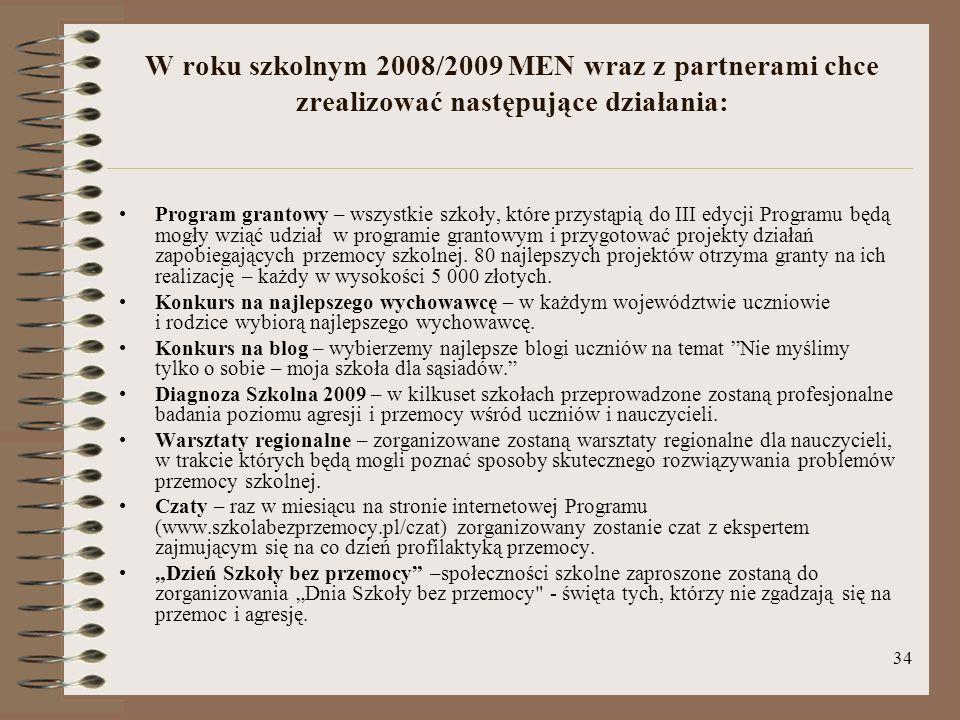 34 W roku szkolnym 2008/2009 MEN wraz z partnerami chce zrealizować następujące działania: Program grantowy – wszystkie szkoły, które przystąpią do II