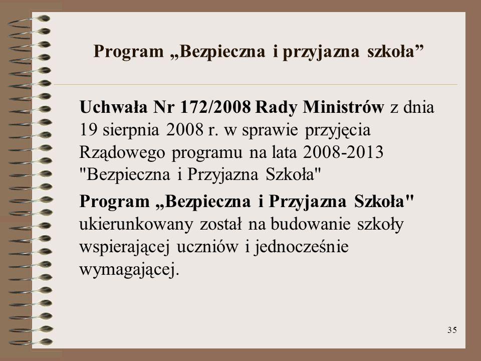 35 Program Bezpieczna i przyjazna szkoła Uchwała Nr 172/2008 Rady Ministrów z dnia 19 sierpnia 2008 r. w sprawie przyjęcia Rządowego programu na lata