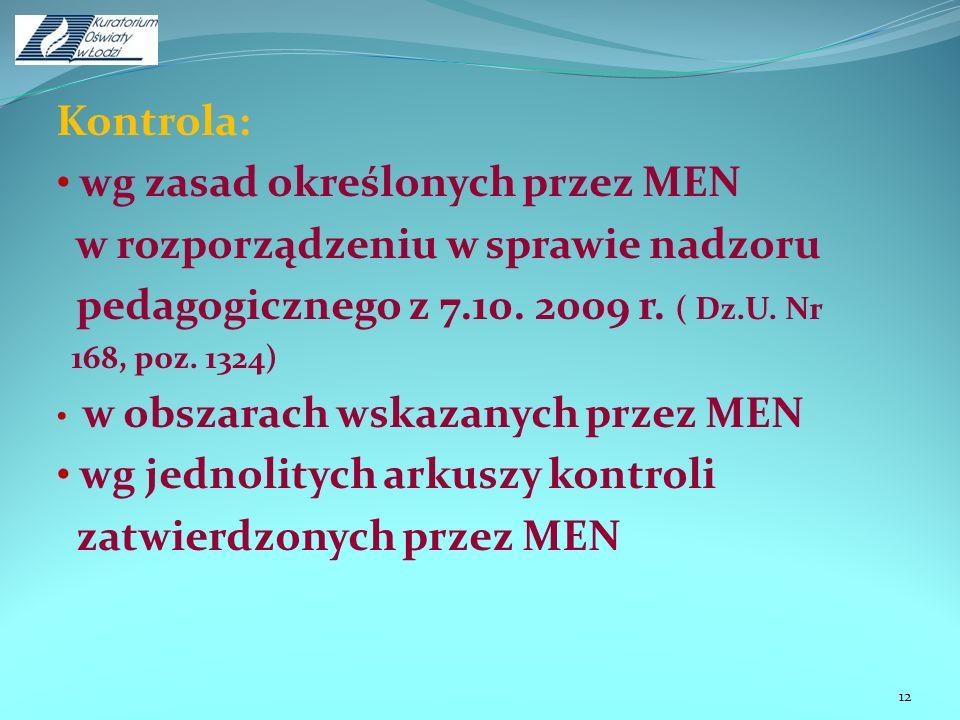 Kontrola: wg zasad określonych przez MEN w rozporządzeniu w sprawie nadzoru pedagogicznego z 7.10. 2009 r. ( Dz.U. Nr 168, poz. 1324) w obszarach wska