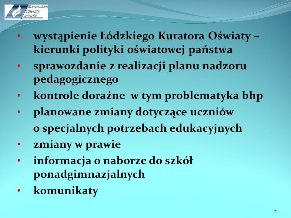 wystąpienie Łódzkiego Kuratora Oświaty – kierunki polityki oświatowej państwa sprawozdanie z realizacji planu nadzoru pedagogicznego kontrole doraźne