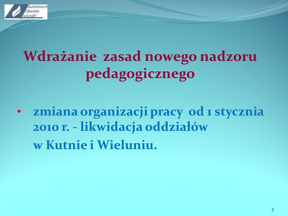 Wdrażanie zasad nowego nadzoru pedagogicznego zmiana organizacji pracy od 1 stycznia 2010 r. - likwidacja oddziałów w Kutnie i Wieluniu. 3