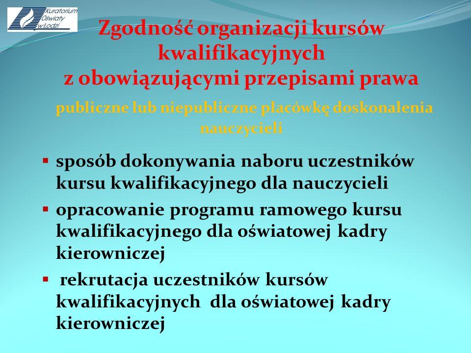 Zgodność organizacji kursów kwalifikacyjnych z obowiązującymi przepisami prawa publiczne lub niepubliczne placówkę doskonalenia nauczycieli sposób dok