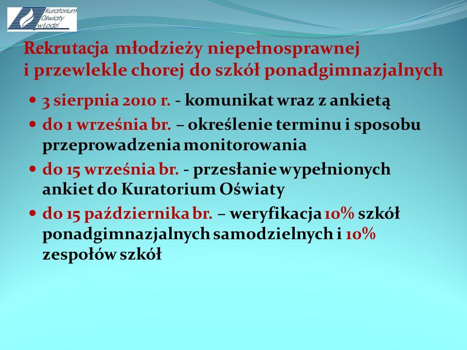 Rekrutacja młodzieży niepełnosprawnej i przewlekle chorej do szkół ponadgimnazjalnych 3 sierpnia 2010 r. - komunikat wraz z ankietą do 1 września br.
