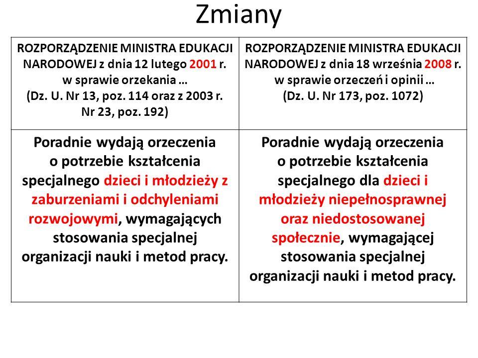 Zmiany ROZPORZĄDZENIE MINISTRA EDUKACJI NARODOWEJ z dnia 12 lutego 2001 r. w sprawie orzekania … (Dz. U. Nr 13, poz. 114 oraz z 2003 r. Nr 23, poz. 19