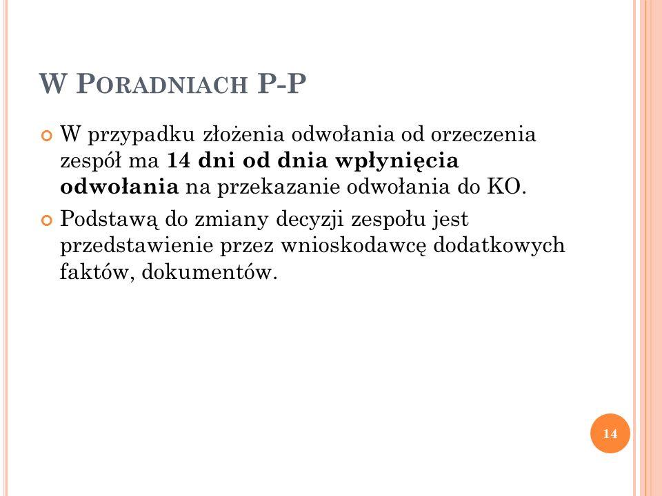 W P ORADNIACH P-P W przypadku złożenia odwołania od orzeczenia zespół ma 14 dni od dnia wpłynięcia odwołania na przekazanie odwołania do KO. Podstawą