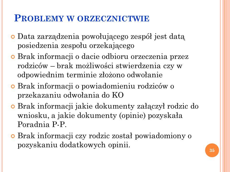 P ROBLEMY W ORZECZNICTWIE Data zarządzenia powołującego zespół jest datą posiedzenia zespołu orzekającego Brak informacji o dacie odbioru orzeczenia p