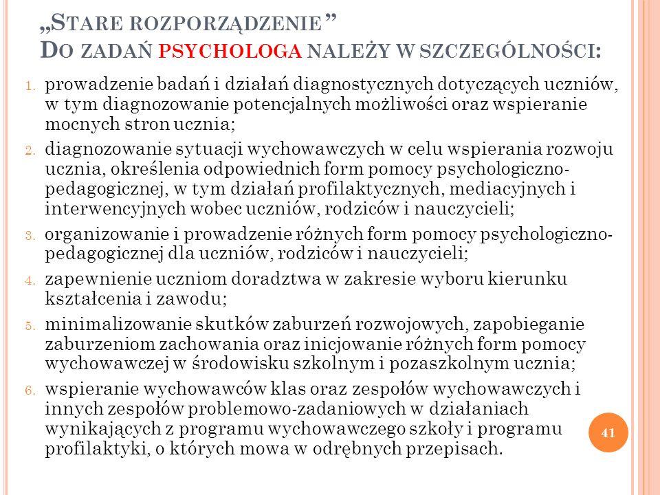 S TARE ROZPORZĄDZENIE D O ZADAŃ PSYCHOLOGA NALEŻY W SZCZEGÓLNOŚCI : 1. prowadzenie badań i działań diagnostycznych dotyczących uczniów, w tym diagnozo