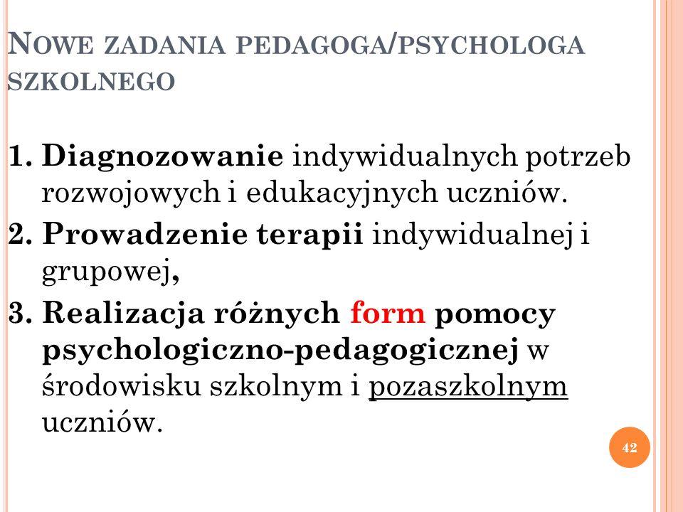 N OWE ZADANIA PEDAGOGA / PSYCHOLOGA SZKOLNEGO 42 1. Diagnozowanie indywidualnych potrzeb rozwojowych i edukacyjnych uczniów. 2. Prowadzenie terapii in