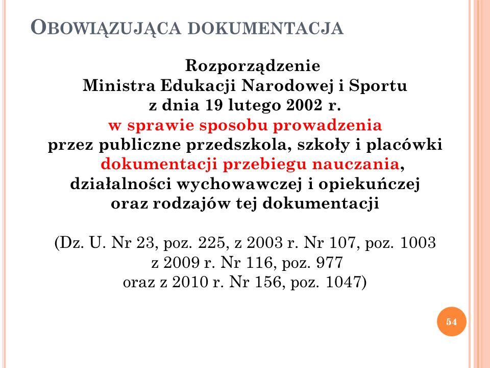O BOWIĄZUJĄCA DOKUMENTACJA Rozporządzenie Ministra Edukacji Narodowej i Sportu z dnia 19 lutego 2002 r. w sprawie sposobu prowadzenia przez publiczne