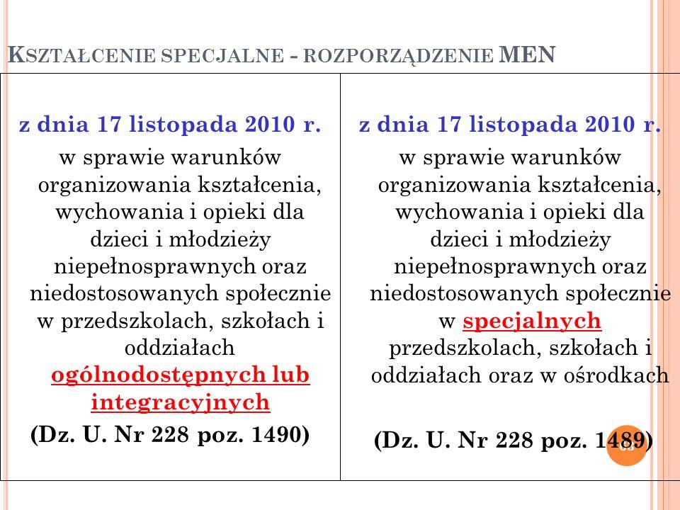 K SZTAŁCENIE SPECJALNE - ROZPORZĄDZENIE MEN 63 z dnia 17 listopada 2010 r. w sprawie warunków organizowania kształcenia, wychowania i opieki dla dziec