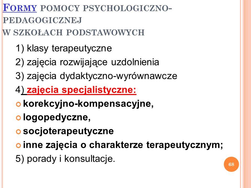 F ORMY POMOCY PSYCHOLOGICZNO - PEDAGOGICZNEJ W SZKOŁACH PODSTAWOWYCH 1) klasy terapeutyczne 2) zajęcia rozwijające uzdolnienia 3) zajęcia dydaktyczno-