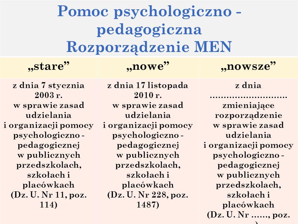78 Pomoc psychologiczno - pedagogiczna Rozporządzenie MEN starenowenowsze z dnia 7 stycznia 2003 r. w sprawie zasad udzielania i organizacji pomocy ps